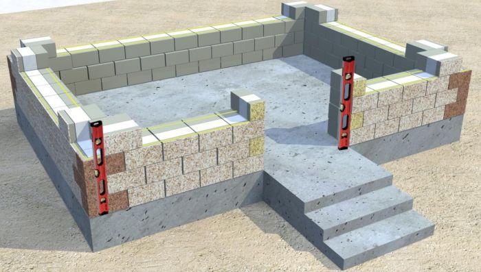 кладка дома из блоков с теплоизоляцией