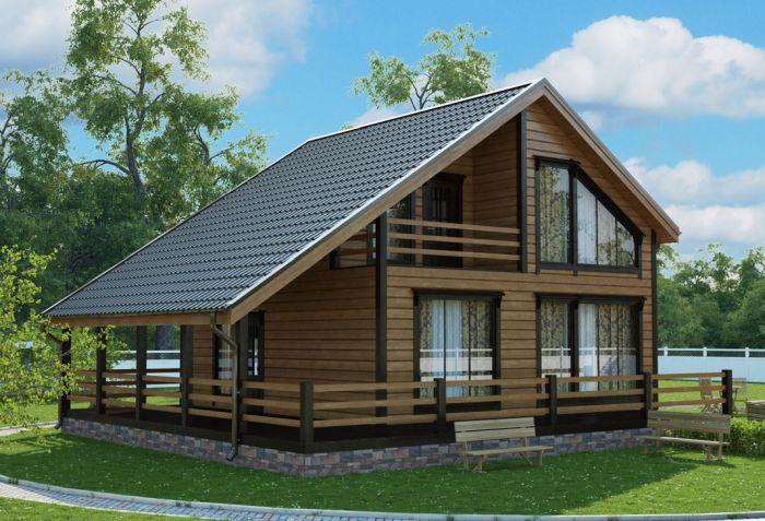 проект частного дома с террасой