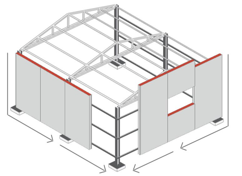 схема сборки гаража из сэндвич панелей